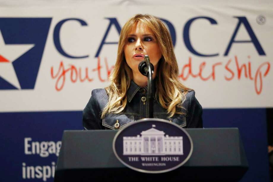 First lady Melania Trump speaks at the Community Anti-Drug Coalitions of America (CADCA) National Leadership Forum, in National Harbor, Md., Thursday, Feb. 7, 2019. Photo: Jacquelyn Martin, AP / Copyright 2019 The Associated Press. All rights reserved.