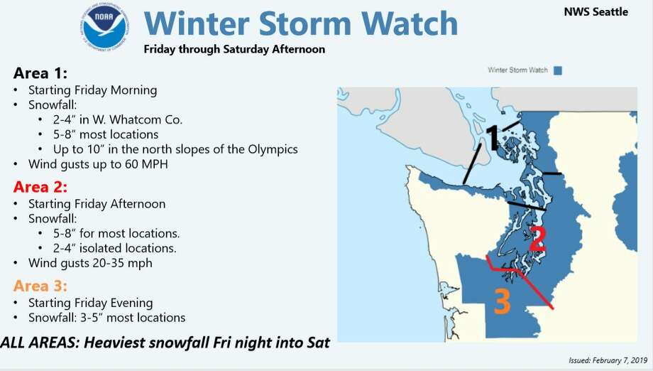 A winter storm watch will take effect Friday around the Puget Sound region. Photo: Courtesy NWS