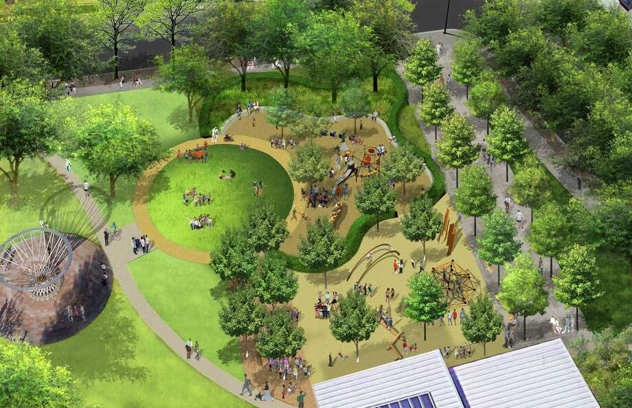 The designers' aerial rendering of the northwest corner of Discovery Green, where a new playground is being built this year. Photo: Hargreaves Associates, Courtesy Of Discovery Green / Hargreaves Associates, Courtesy Of Discovery Green