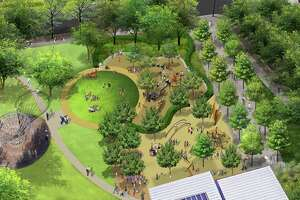 The designers' aerial rendering of the northwest corner of Discovery Green, where a new playground is being built this year.