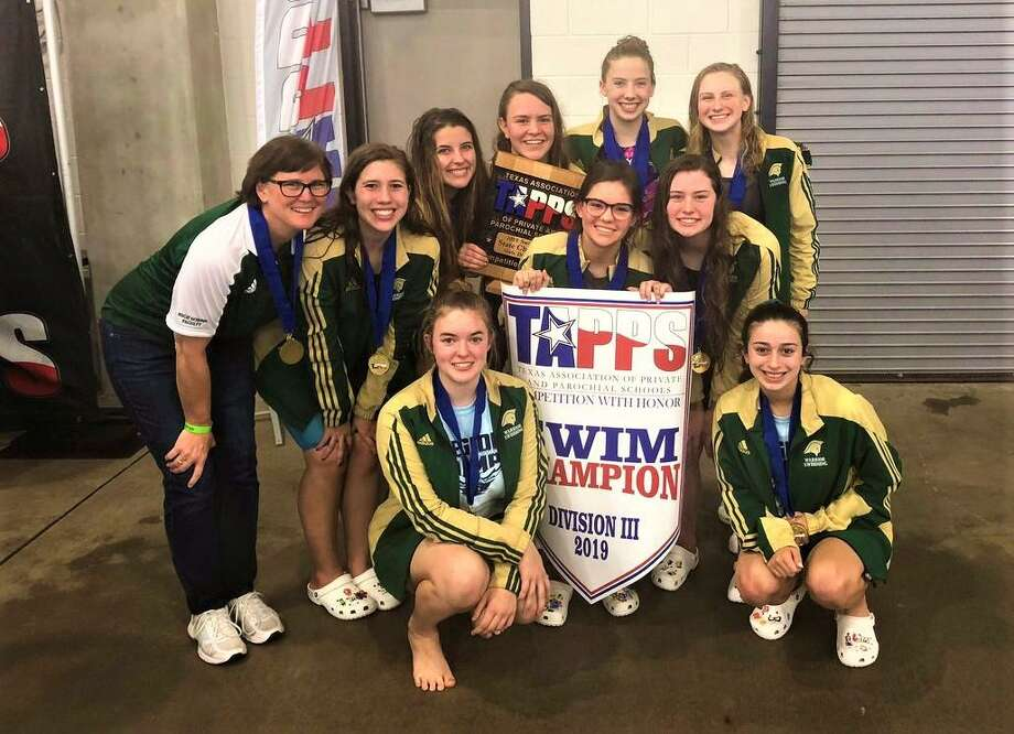 The Woodlands Christian Academy girls swimming team captured the TAPPS Division III state championship on Wednesday. Photo: Submitted Photo