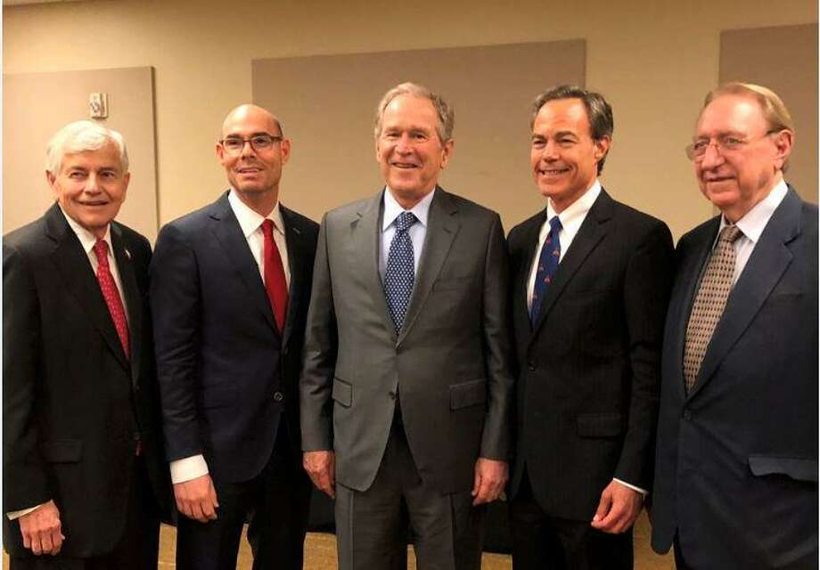 Former President George W. Bush poses for a rare photo with the last four Texas House speakers, politicians who have run the chamber over the last 26 years.  Photo: Courtesy Of House Speaker Dennis Bonnen