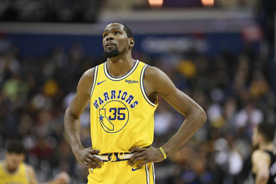 Golden State Warriors forward Kevin Durant (35) stands on the court during the second half of an NBA basketball game against the Washington Wizards, Thursday, Jan. 24, 2019, in Washington. The Warriors won 126-118. (AP Photo/Nick Wass) Photo: Nick Wass / Associated Press