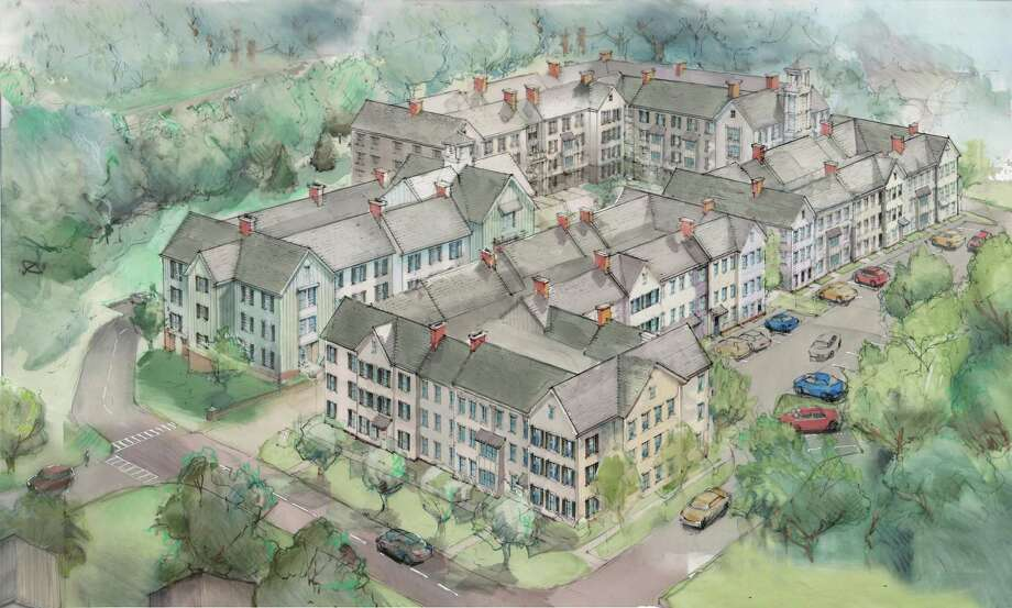 Monroe Partners Architects created a rendering of the proposed Hiawatha Lane development in Westport which was released to the public in May 2018. Photo: Contributed / Contributed Photo / Westport News contributed