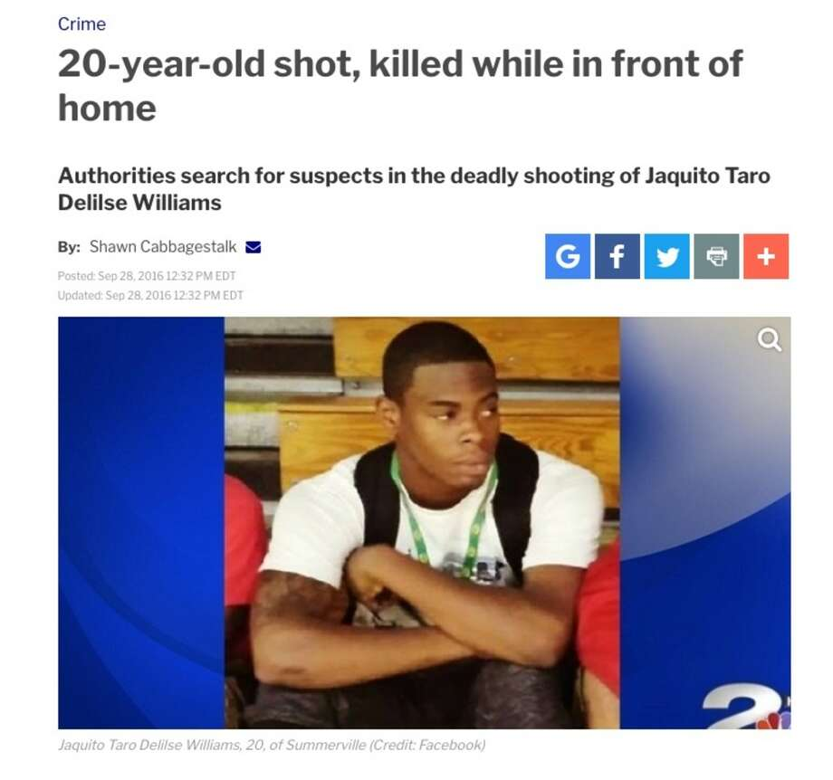Ellazar William's brother, Jaquito Turo Delisle Williams, 20, was shot to death in front of his home in Summerville, S.C. in 2016. (https://www.counton2.com) Photo: Screen Shot