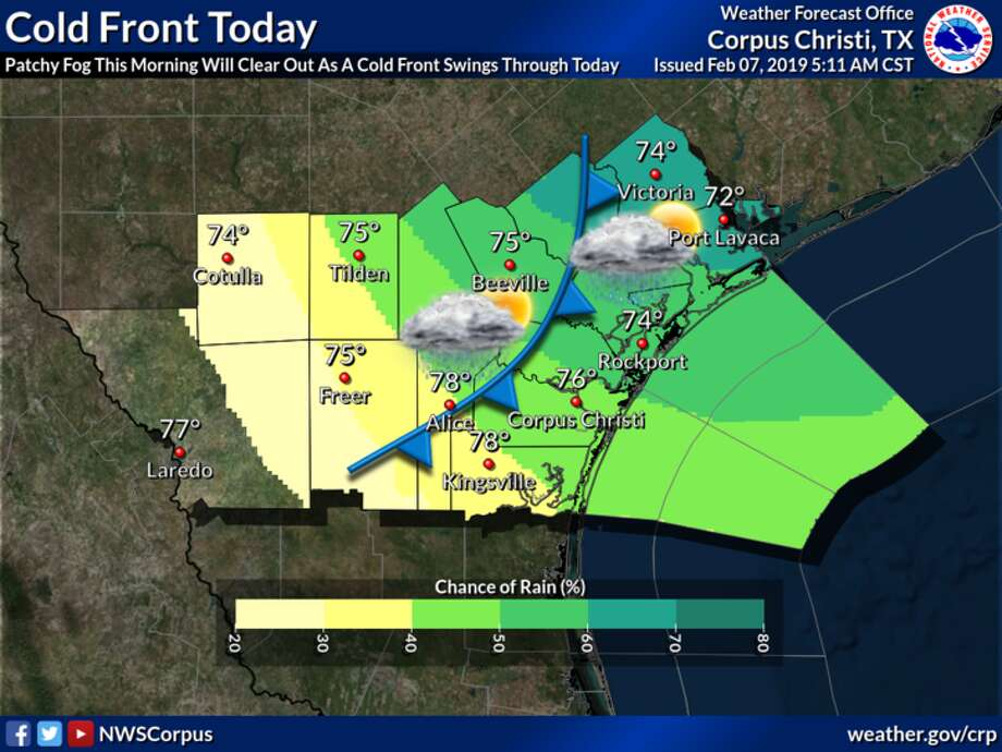 According to the NWS, a cold front swept through Laredo around noon on Thursday. Highs in the 70s are expected Thursday afternoon until temperatures drop into the 40s throughout the night. Photo: National Weather Service