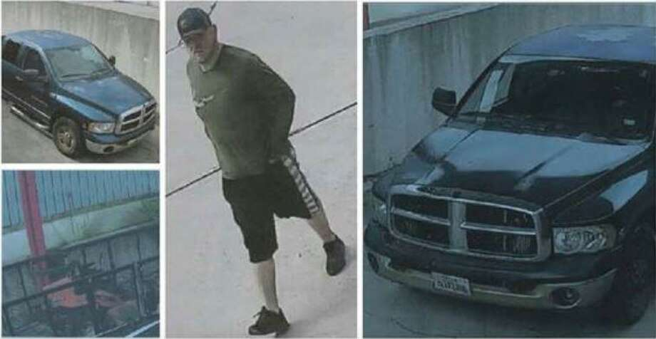 Photographic images show a man and the pickup truck he was driving when the sheriff's office suspect he stole a trailer and a mower in Montgomery. Photo: Courtesy Of Montgomery County Sheriff's Office