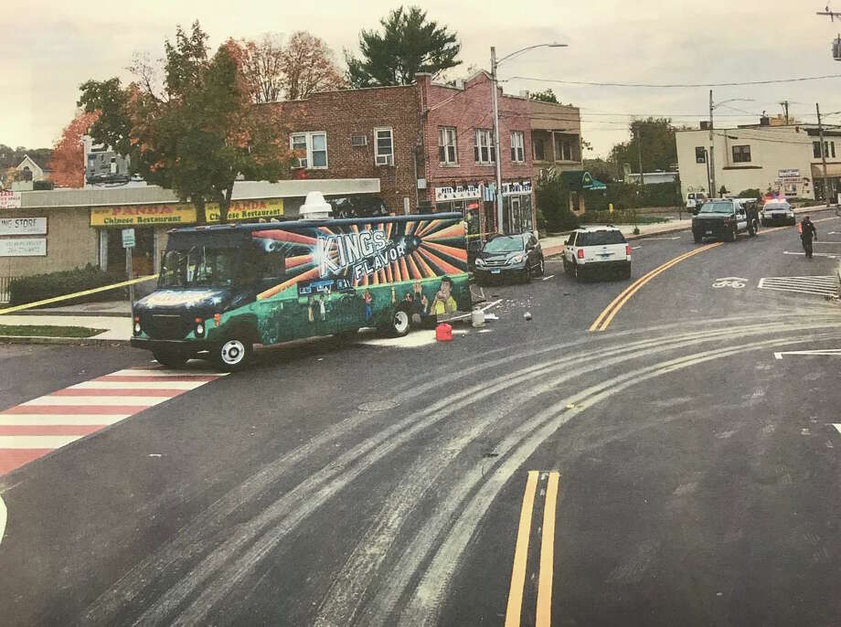 The scene of an accident involving a food truck on Hope Street that killed owner Angela Lopez, 34, on Oct. 14, 2014. Photo: Stamford Police