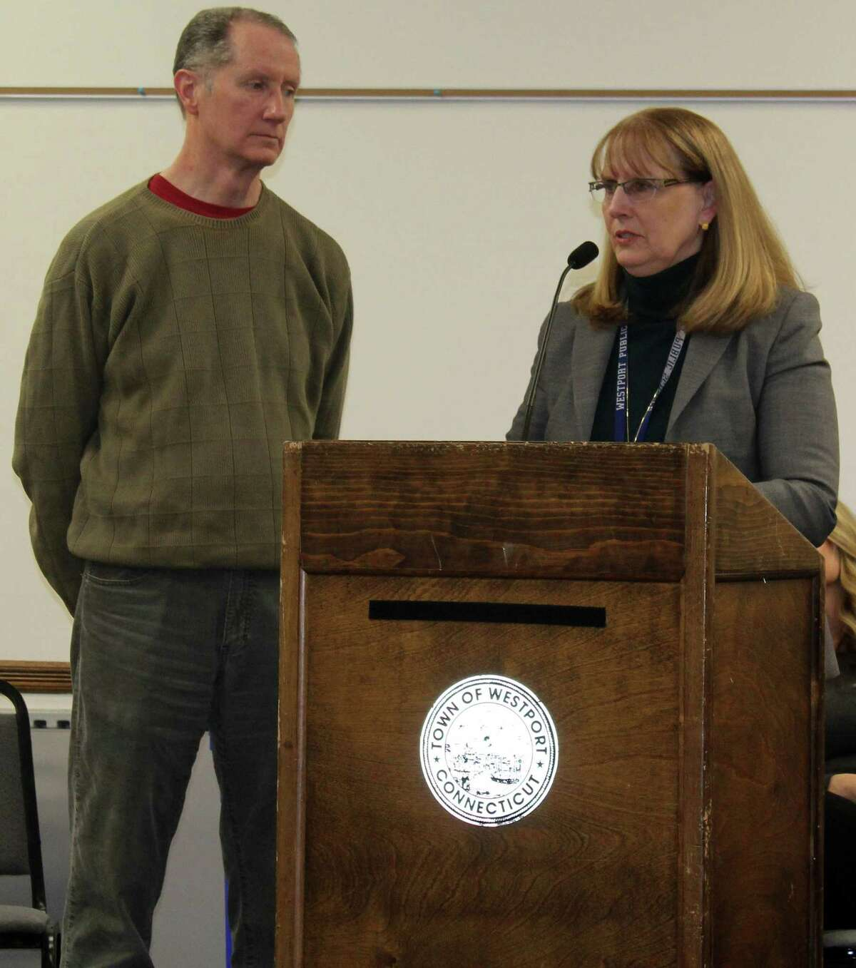 Westport Public Schools Superintendent Colleen Palmer asked the Board of Finance to appropriate four million dollars for the purchase or rental of portable classrooms for the elementary schools at the board's Feb. 5 meeting in Westport Town Hall with education board Chair Mark Mathias by her side.