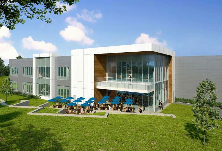 A rendering of the new Branson Ultrasonics headquarters plant planned for Berkshire Corporate Park in Brookfield, Conn., as designed by CPG Architects of Stamford, Conn. (CPG Architects rendering via the town of Brookfield) Photo: Contributed Photo / Contributed / The News-Times Contributed