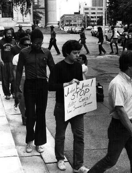 A protest following the fatal shooting of Jessie Davis on July 8, 1984. (Times Union archive)