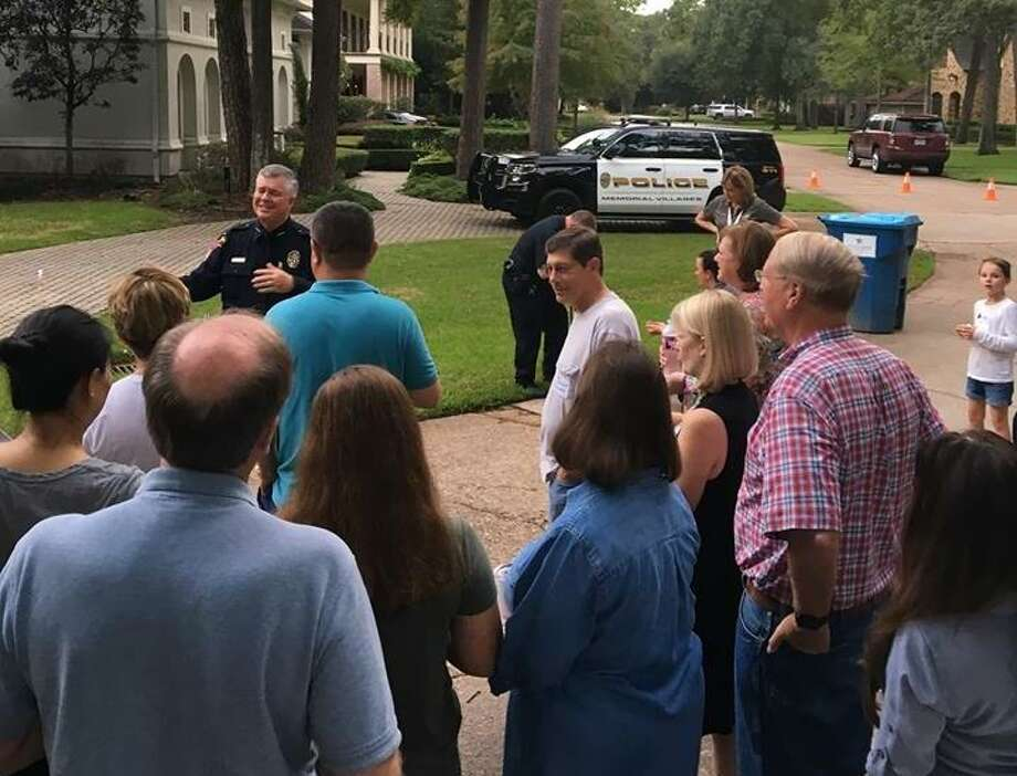 Strong relationships between police and residents are part of what helped the Memorial Villages top the list of Texas' safest cities, according to the National Council for Home Safety and Security. Here, Memorial Villages Police Department Chief addresses a group of residents at the 2018 National Night Out. Photo: Courtesy Photo By Memorial Villages Police Department