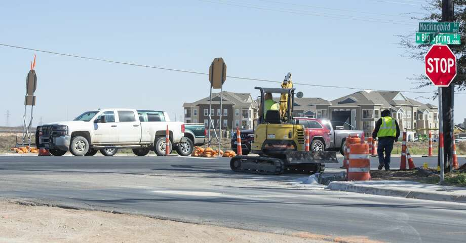 A four-way stop has been placed at the intersection of North Big Spring and Mockingbird Lane 02/07/19 as road work continues in the area.  Tim Fischer/Reporter-Telegram Photo: Tim Fischer/Midland Reporter-Telegram