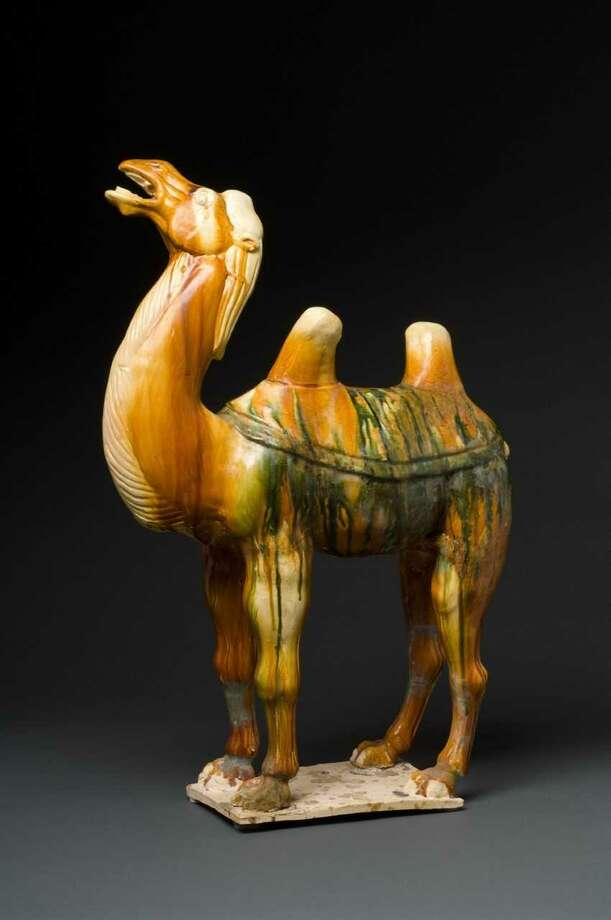 This Caravan Camel, glazed pottery from the Tang Dynasty, is part of the 'Silk Road' exhibit at the Bruce Museum. Photo: Photo By Paul Mutino /