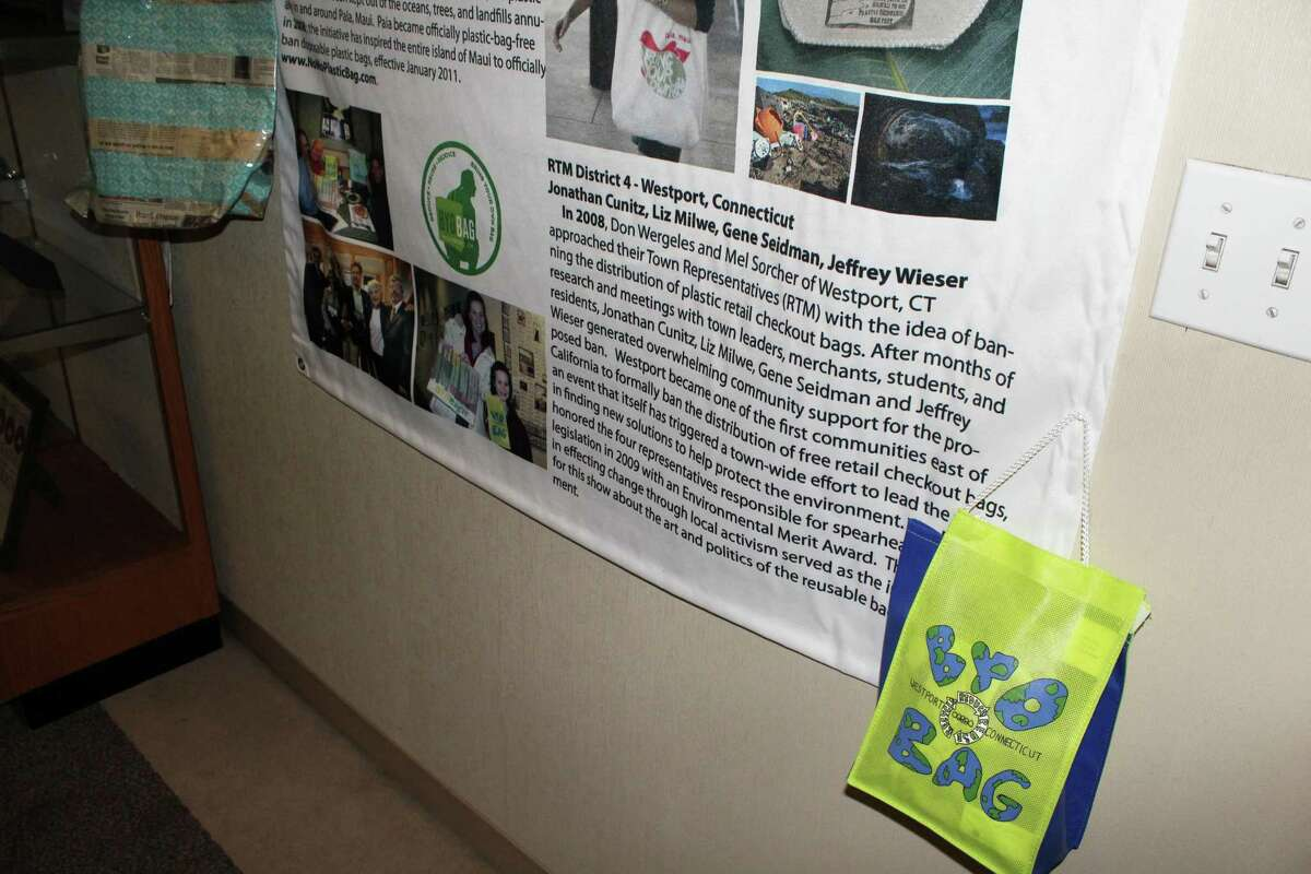 A Westport reusable bag. Westport was the first town in Connecticut to pass a plastic bag ordinance in 2008. Taken Nov. 5.