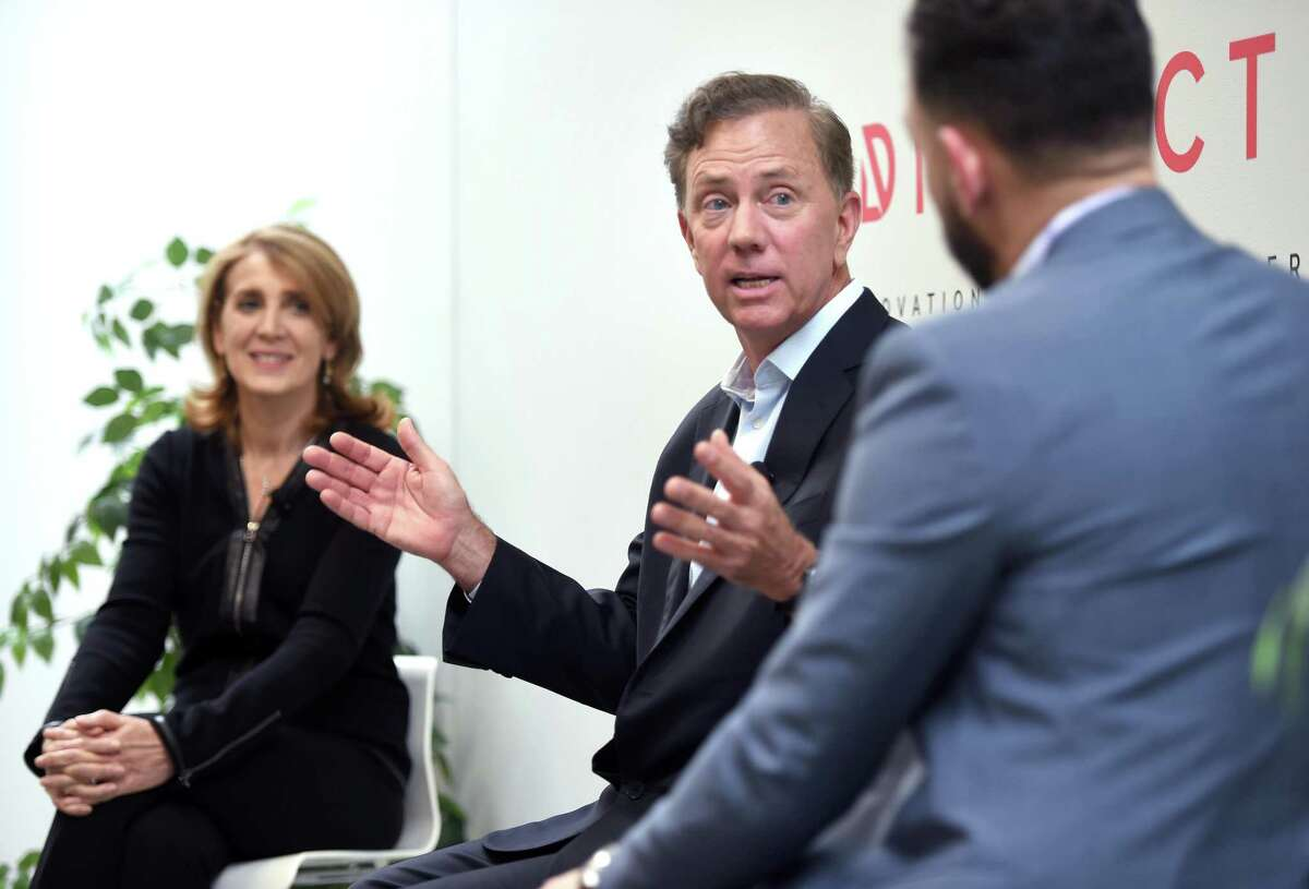 While on the campaign trail in September 2018 in advance of his election, Gov. Ned Lamont discusses innovation in Connecticut alongside Ruth Porat, chief financial officer of Google and parent Alphabet; and David Salinas, co-founder of the District Innovation and Venture Center in New Haven.