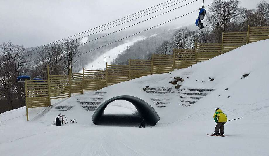 With two tunnels dug on Snowdon Mountain at Killington ski resort in Vermont, skiers and snowboarders on the Great Northern trail go under another trail. With intersections with Great Northern all but eliminated skiers can finally do uninterrupted top-to-bottom cruising. Photo: Jim Shay /Hearst Connecticut Media