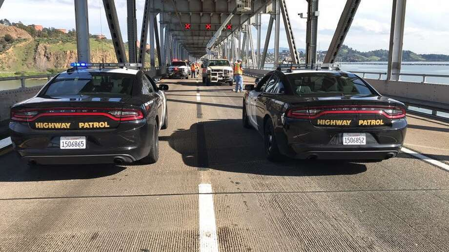 Falling debris on the Richmond-San Rafael Bridge caused traffic to halt as authorities closed all lanes in both directions Thursday morning. Photo: California Highway Patrol
