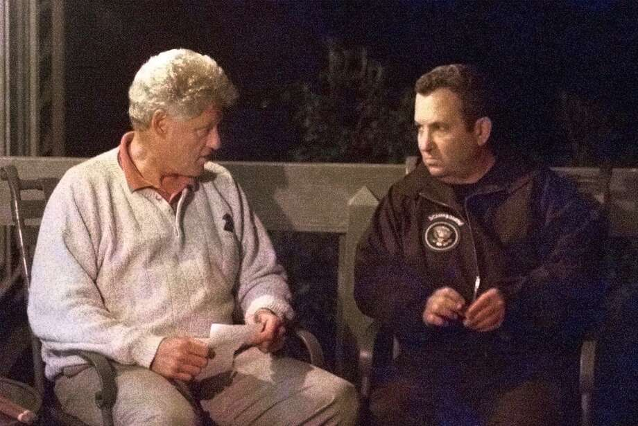 President Clinton meets with Israeli Prime Minister Ehud Barak, right, July 16, 2000 at Camp David. Photo: Associated Press / THE WHITE HOUSE