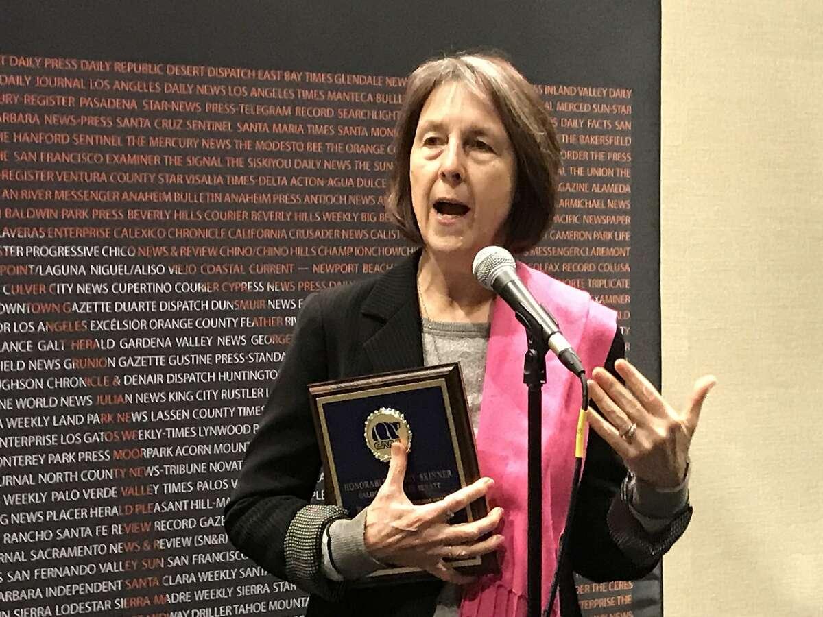 "State Sen. Nancy Skinner, D-Berkeley, received a ""Free Speech Champion Award"" from the California Newspaper Publishers Association in Sacramento on Feb. 5"