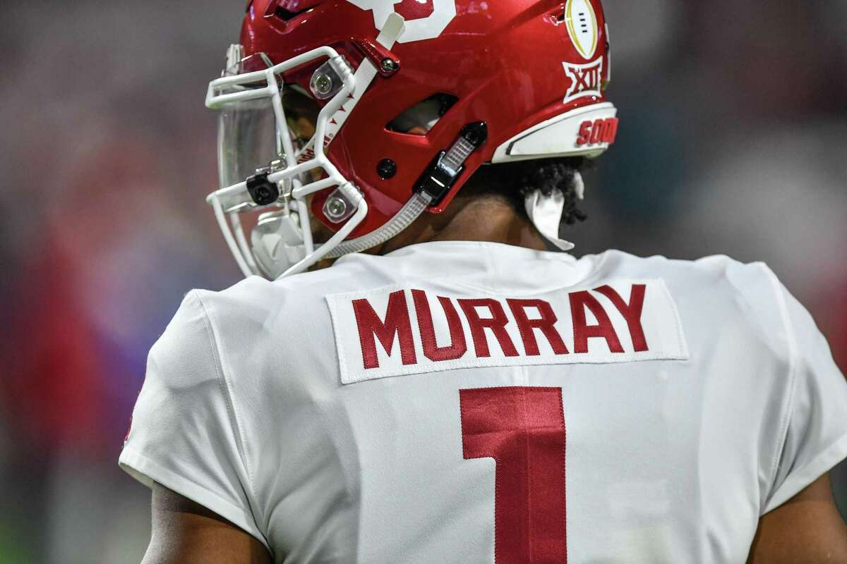 MIAMI, FL - DECEMBER 29: A detailed view of the nameplate of Kyler Murray #1 of the Oklahoma Sooners in action against the Alabama Crimson Tide at Hard Rock Stadium on December 29, 2018 in Miami, Florida. (Photo by Mark Brown/Getty Images)