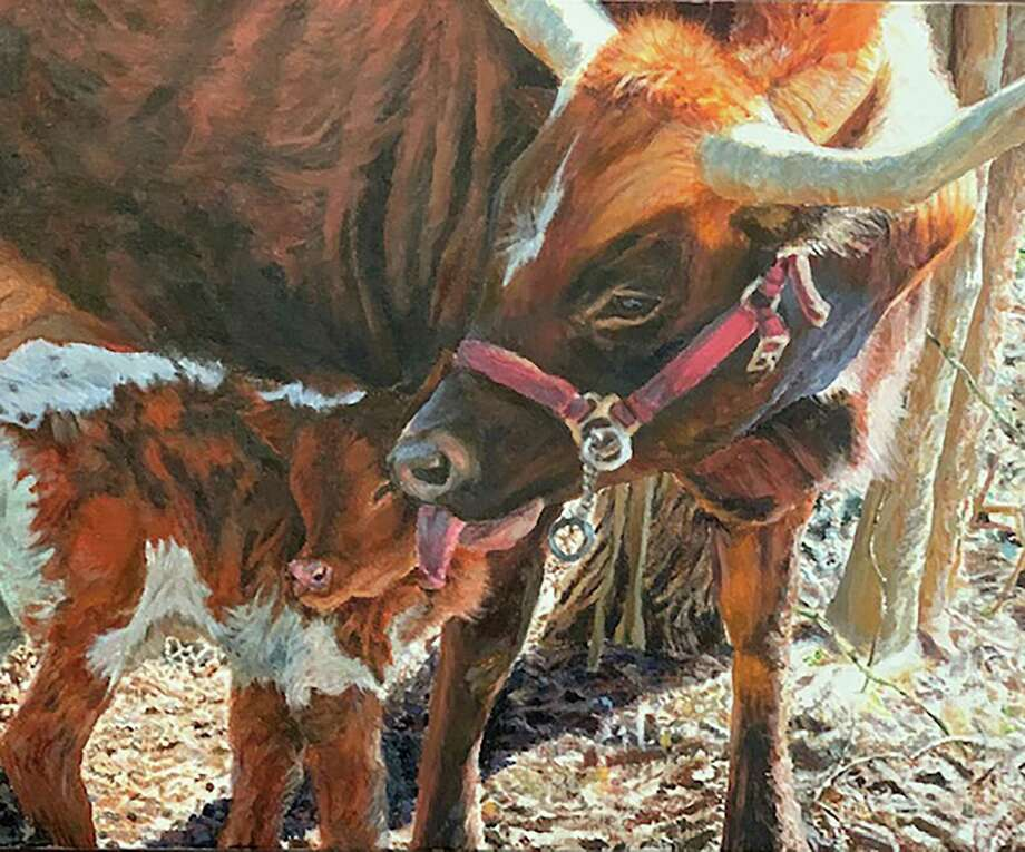 Michaela Nelson's acrylic painting of a longhorn nuzzling her newborn was one of two pieces representing Friendswood High School chosen to be auctioned at the Houston Livestock Show and Rodeo this year.