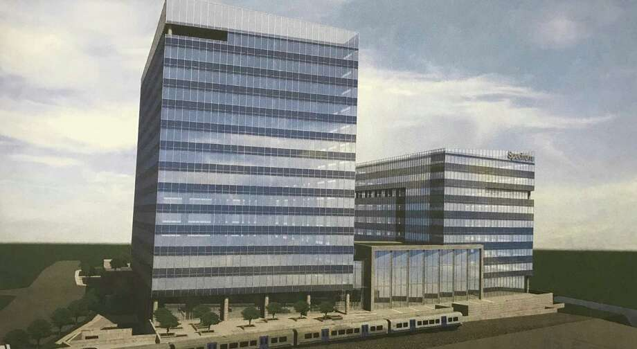 Renderings filed by Charter Communications and developer Building and Land Technolody show plans for a second building, this one nine stories, on the Gateway site where its new headquarters is rising just south of Interstate-95. Photo: Contributed Photo / Contributed Photo / Stamford Advocate  contributed