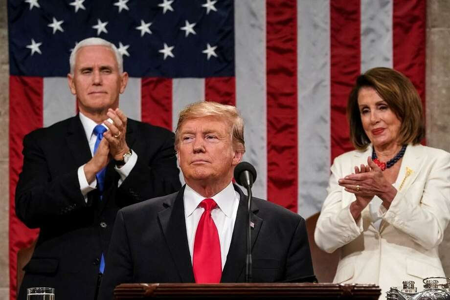 President Donald Trump delivers the State of the Union address, alongside Vice President Mike Pence and Speaker of the House Nancy Pelosi, at the Capitol on Tuesday.He appealed for bipartisanship. Photo: /