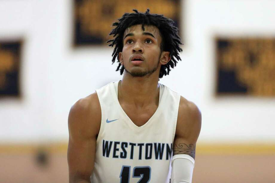Westttown School's Jalen Gaffney #12 in action against Brewster Academy during a high school basketball game on Sunday, January 13, 2019 in the Bronx, NY. (AP Photo/Gregory Payan) Photo: Gregory Payan / Associated Press / Copyright 2019 The Associated Press. All rights reserved.
