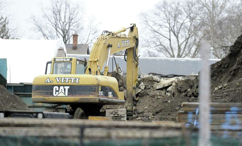 The city is taking A. Vitti Construction to court yet again for crushing rock within city limits, a violation of zoning regulations. Neighbors complain that their houses shake, dust clouds rise, and the noise is unbearable when the company is wrecking rock. A view of the yard in action on Thursday, Feb. 7, 2019 in Stamford, Connecticut. Photo: Matthew Brown / Hearst Connecticut Media / Stamford Advocate