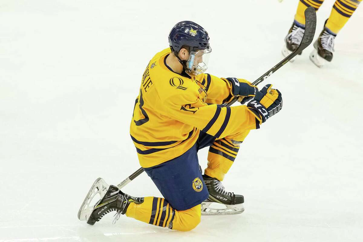 Quinnipiac's Chase Priskie celebrates a goal against Princeton during a game in December.