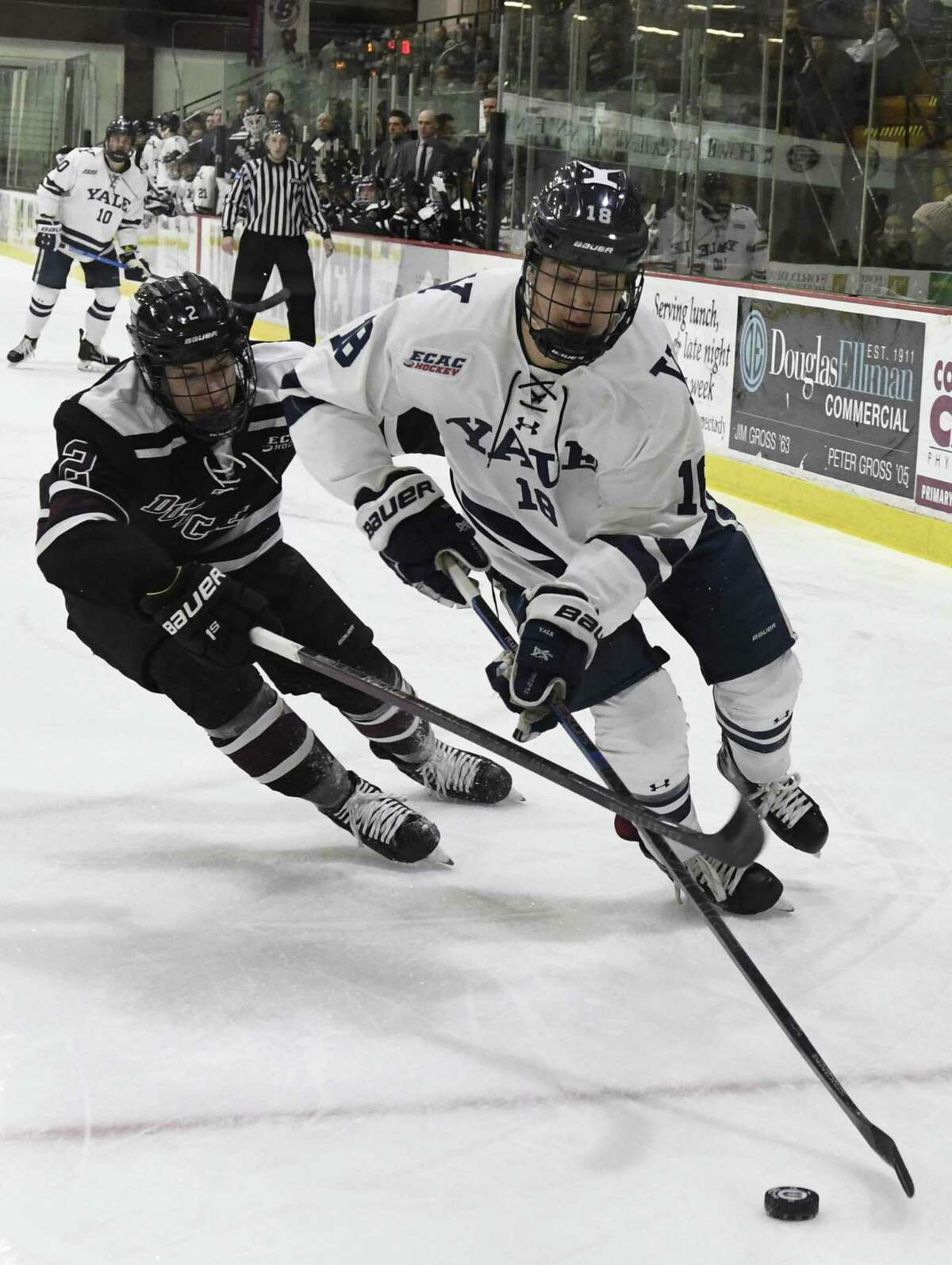Forward Justin Pearson, right, and Yale will face rival Quinnipiac on Friday in Hamden.