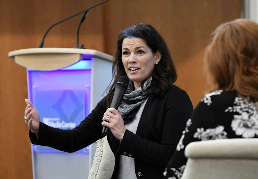 Two-time Olympic figure skating medalist Nancy Kerrigan speaks at the Hearst Media Center on Thursday, Feb. 7, 2019, in Colonie, N.Y. Her appearance was in support of the upcoming Aurora Games, an all-women?•s multi-sport competition and entertainment festival that will be held in Albany this August. (Will Waldron/Times Union)