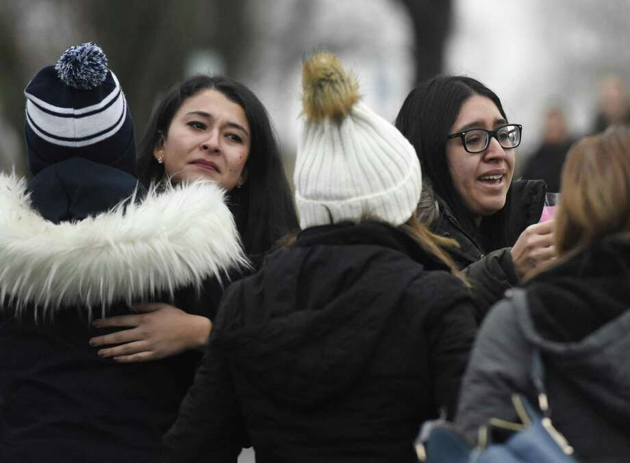 Friends and family grieve for homicide victim Valerie Reyes during a candleight vigil at Glen Island Park in New Rochelle, N.Y. Thursday. Feb. 7, 2019. Reyes, 24, of New Rochelle, N.Y., was found bound inside of a suitcase just off of Glenville Road in a quiet, wooded area of Greenwich, Conn. on Tuesday morning. Photo: Tyler Sizemore / Hearst Connecticut Media / Greenwich Time