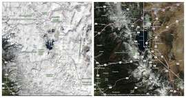 NASA satellite imagery of California captured on Feb. 5, 2018, and on Feb. 5, 2019, show the way the Lake Tahoe area looked during a winter dry spell in 2018 and amid a wet period in 2019.