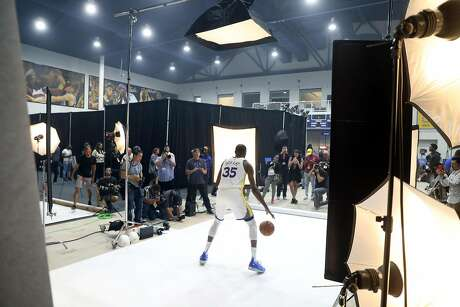 Kevin Durant during Golden State Warriors' Media Day in Oakland, Calif. on Monday, September 24, 2018. Photo: Scott Strazzante / The Chronicle