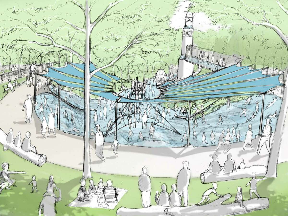 """A rendering of the """"Moon Crater"""" area, one of the features being designed for the play area of Hermann Park Commons."""