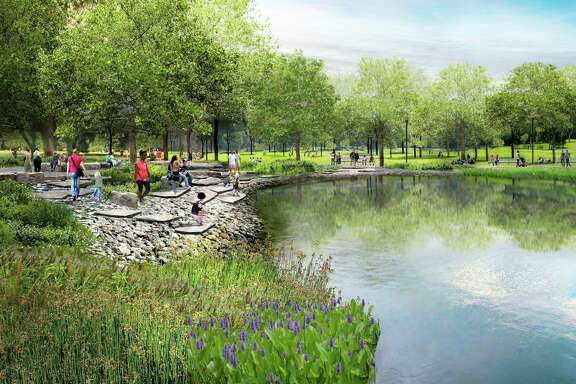"""A rendering of the """"Stone Beach"""" planned for the area where Hermann Park Commons will meet McGovern Lake."""