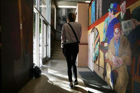 Charlotte leaves the San Francisco offices of El/la Para TransLatinas, which provides resources to transgender Latinas. Photo: Lea Suzuki / The Chronicle