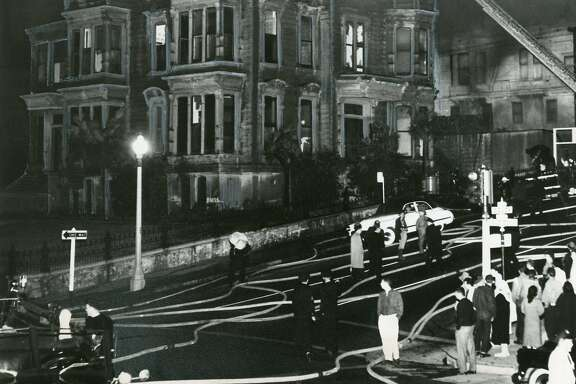 A fire, perhaps set by transients or youngsters, tore through the Fortman Mansion at 1007 Gough Street. It had been featured in the movie Vertigo, July 23, 1959