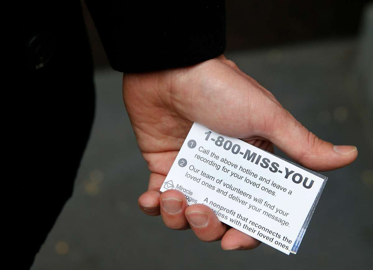 Miracle Messages founder and CEO holds a stack of cards he distributes to homeless individuals in San Francisco, Calif. on Tuesday, Jan. 29, 2019. Miracle Messages reconnects people living on the street with long lost relatives and loved ones.