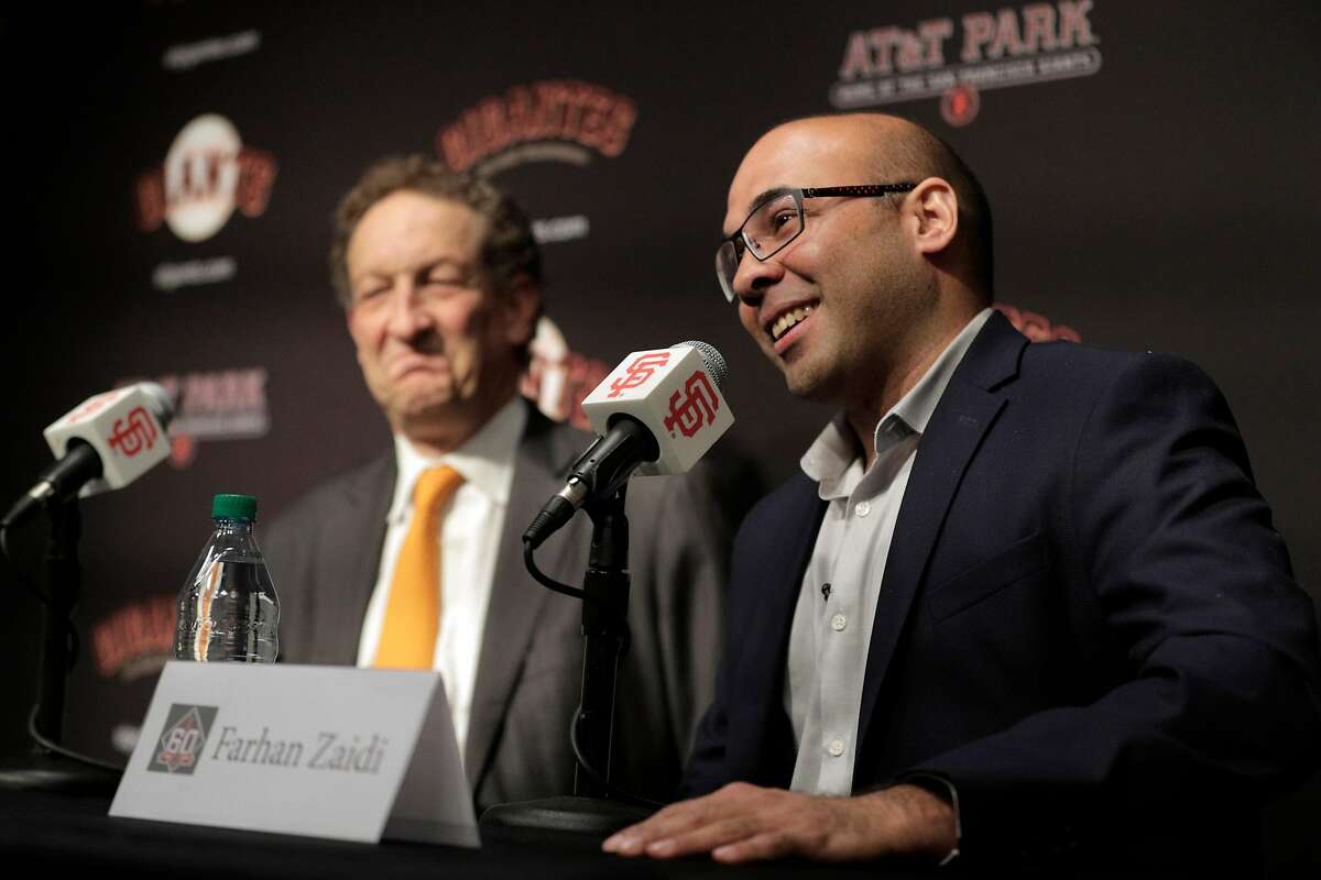 Farhan Zaidi answers a question from the press after Giants CEO Larry Baer introduced him as the new president of baseball operations during a press conference at AT&T Park, in San Francisco, Calif., on Wednesday, November 7, 2018.
