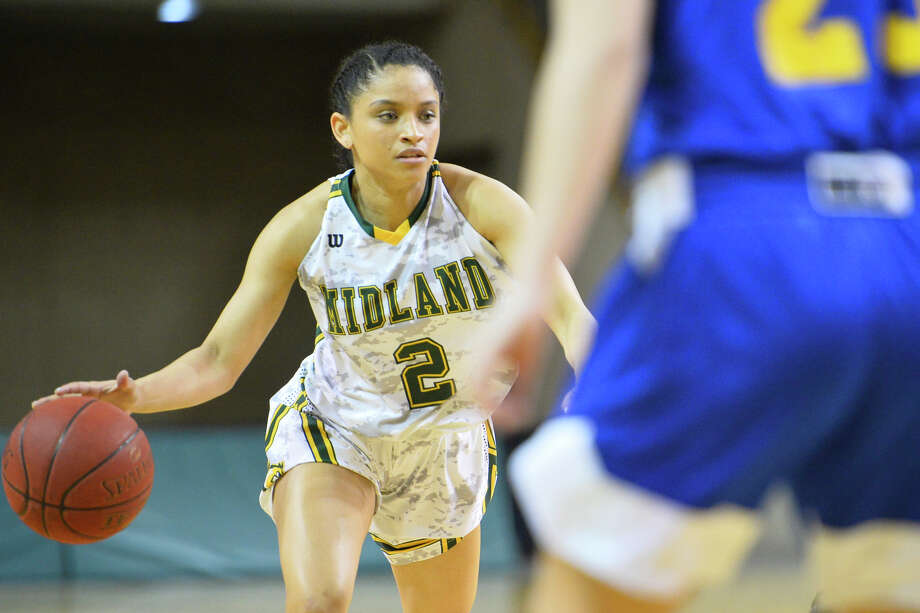 Midland College's Annilia Dawn (2) dribbles against Frank Phillips College Feb. 7, 2019 at Chapparral Center..  James Durbin/Reporter-Telegram Photo: James Durbin / ? 2019 Midland Reporter-Telegram. All Rights Reserved.