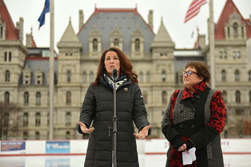 Two-time Olympic figure skating medalist Nancy Kerrigan talks about the upcoming Aurora Games during a special appearance at the Empire State Plaza on Thursday, Feb. 7, 2019 in Albany, N.Y. Kerrigan serves as the Figure Skating Chair on the Aurora Games Advisory Board. New York State Office of General Services Commissioner Roann Destito stands at right. (Lori Van Buren/Times Union)