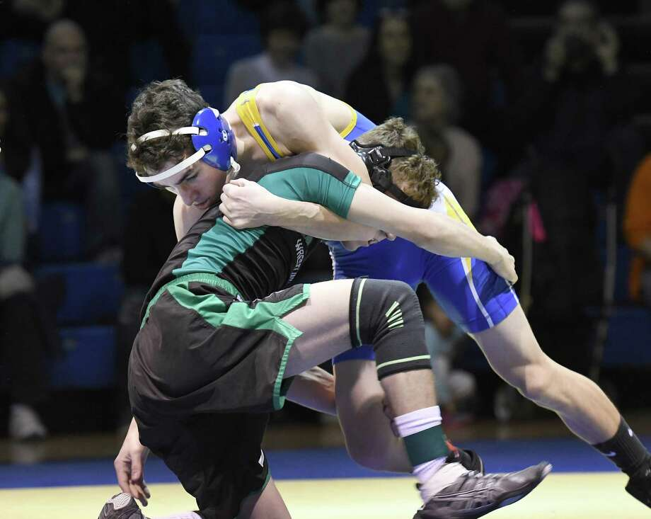 Action from SWC wrestling between Newtown and New Milford at Newtown, Feb. 7, 2019. Photo: Krista Benson / The News-Times Freelance