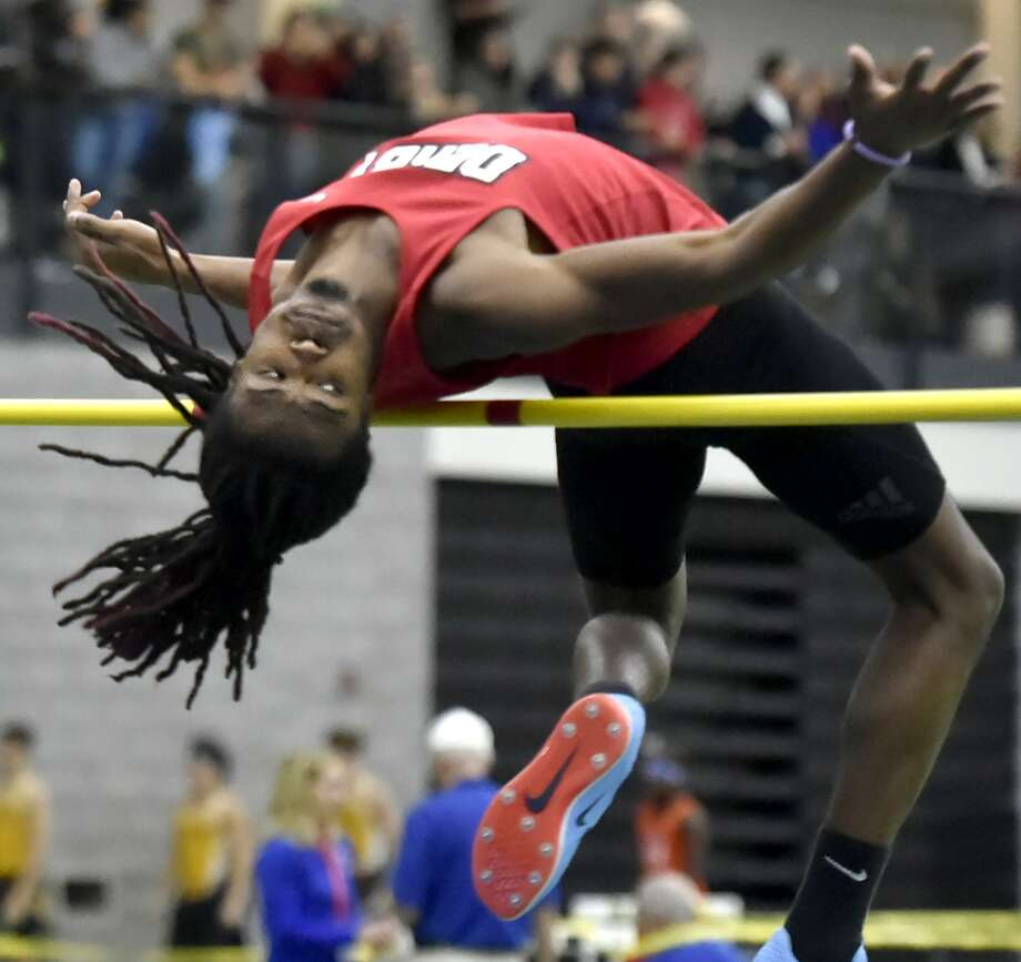 Derby's Ja'Kwan Hale won the high jump at Thursday's Class S indoor track and field championships. Photo: Peter Hvizdak / Hearst Connecticut Media / New Haven Register