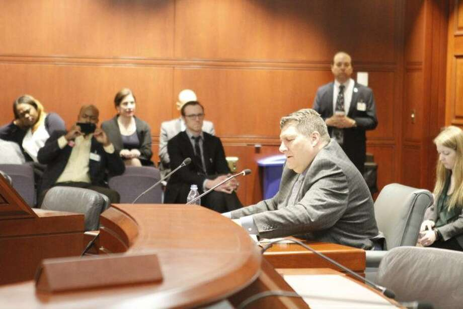 Prison chief nominee Rollin Cook speaks during his confirmation hearing on Thursday. Photo: Milos Silber