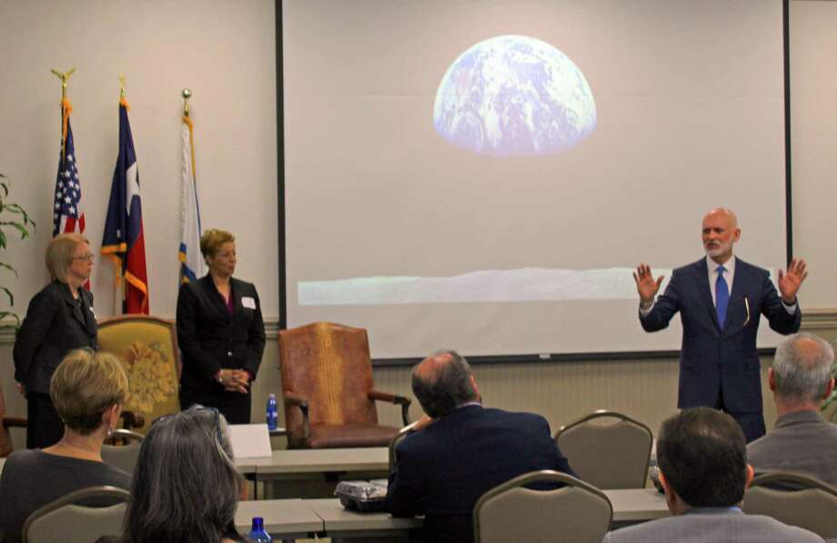 The Houston Guided Pathways to Success (GPS) Alliance was the focus of discussion at the Fort Bend County Chamber of Commerce membership luncheon held Feb. 7. From left: Dr. Teri Longacre, Vice Provost and Dean, Undergraduate Student Success for the University of Houston, Dr. Betty Fortune, Executive Director of Success and Completion for Houston Community College, Tom Sugar, vice president at EAB.