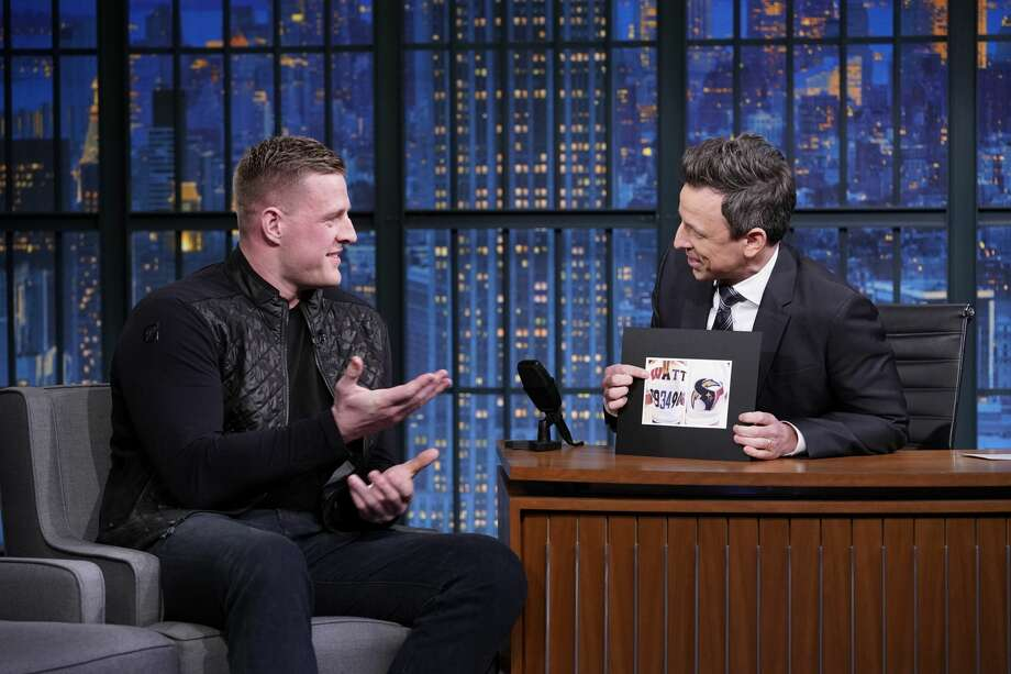PHOTOS: What J.J. Watt's been up to this offseason LATE NIGHT WITH SETH MEYERS -- Episode 796 -- Pictured: (l-r) Professional football player J.J. Watt during an interview with host Seth Meyers on February 7, 2019 -- (Photo by: Lloyd Bishop/NBC/NBCU Photo Bank via Getty Images) Browse through the photos above to see J.J. Watt in public appearances this offseason ... Photo: NBC/NBCU Photo Bank Via Getty Images