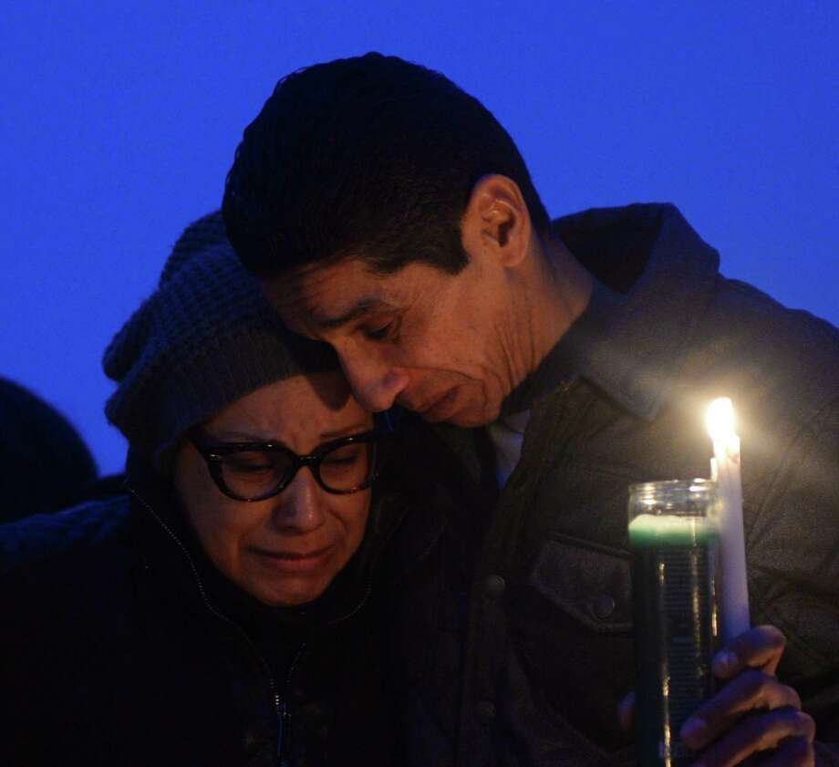 Friends and family grieve for homicide victim Valerie Reyes during a candleight vigil in her honor at Glen Island Park in New Rochelle, N.Y. Thursday, Feb. 7, 2019. Reyes, 24, of New Rochelle, N.Y., was found bound inside of a suitcase just off of Glenville Road in a quiet, wooded area of Greenwich, Conn. on Tuesday morning. Photo: Tyler Sizemore / Hearst Connecticut Media / Greenwich Time